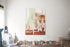 Painting at Jonas Hofrichter's studio. Photo Erika Svensson