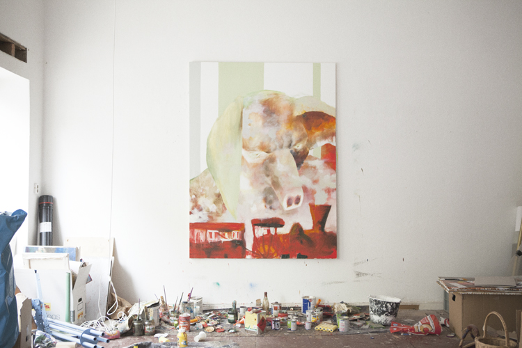 Painting at Jonas Hofrichter's studio. Photo Erika Svensson