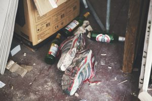 Sneakers and beer bottles at Jonas Hofrichter's studio. Photo Erika Svensson