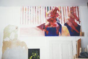 Paintings at Jonas Hofrichter's studio. Photo Erika Svensson