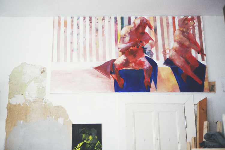 Paintings at Jonas Hofrichter's studio. Photo Erika Svensson