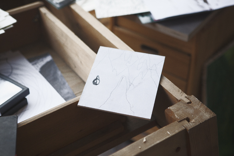 Sketch at Jonas Hofrichter's studio. Photo Erika Svensson