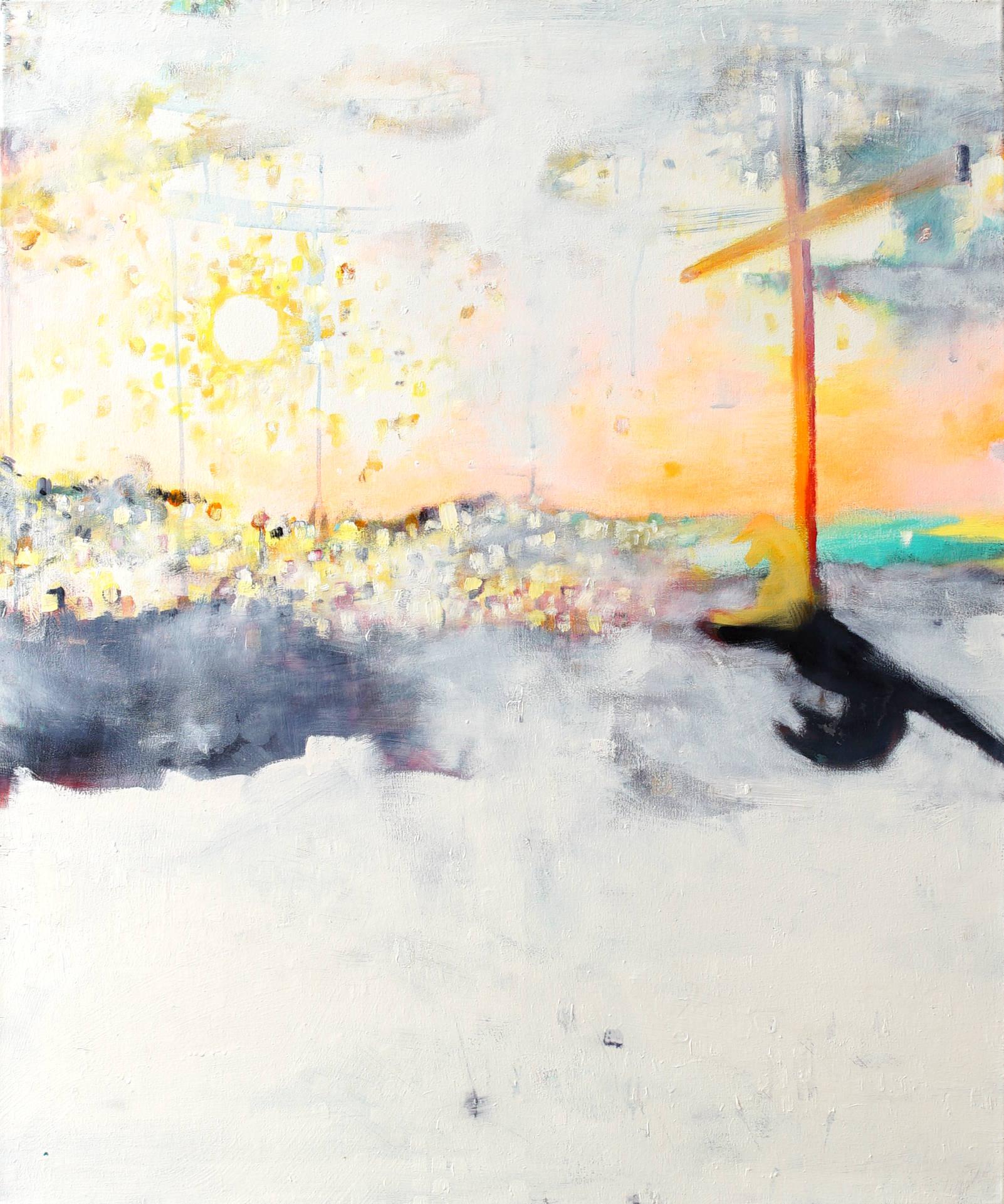 Schlafendes Schwein mit Kreuz (sleeping pig with cross) by Jonas Hofrichter, 2014. Oil and acrylic on canvas, 120 x 100 cm