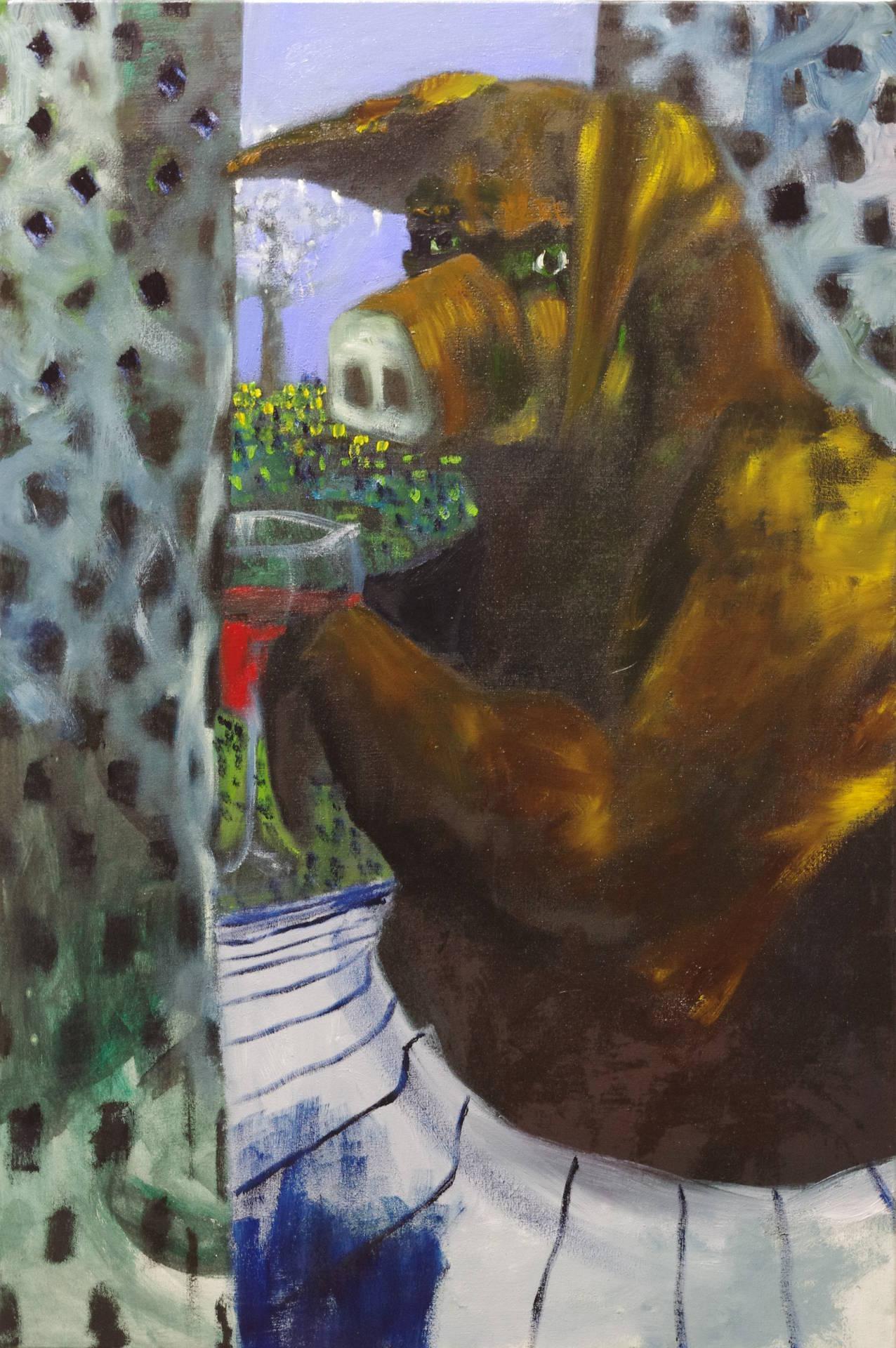 Schwein auf dem Fensterbrett (pig on the window sill) by Jonas Hofrichter, 2015