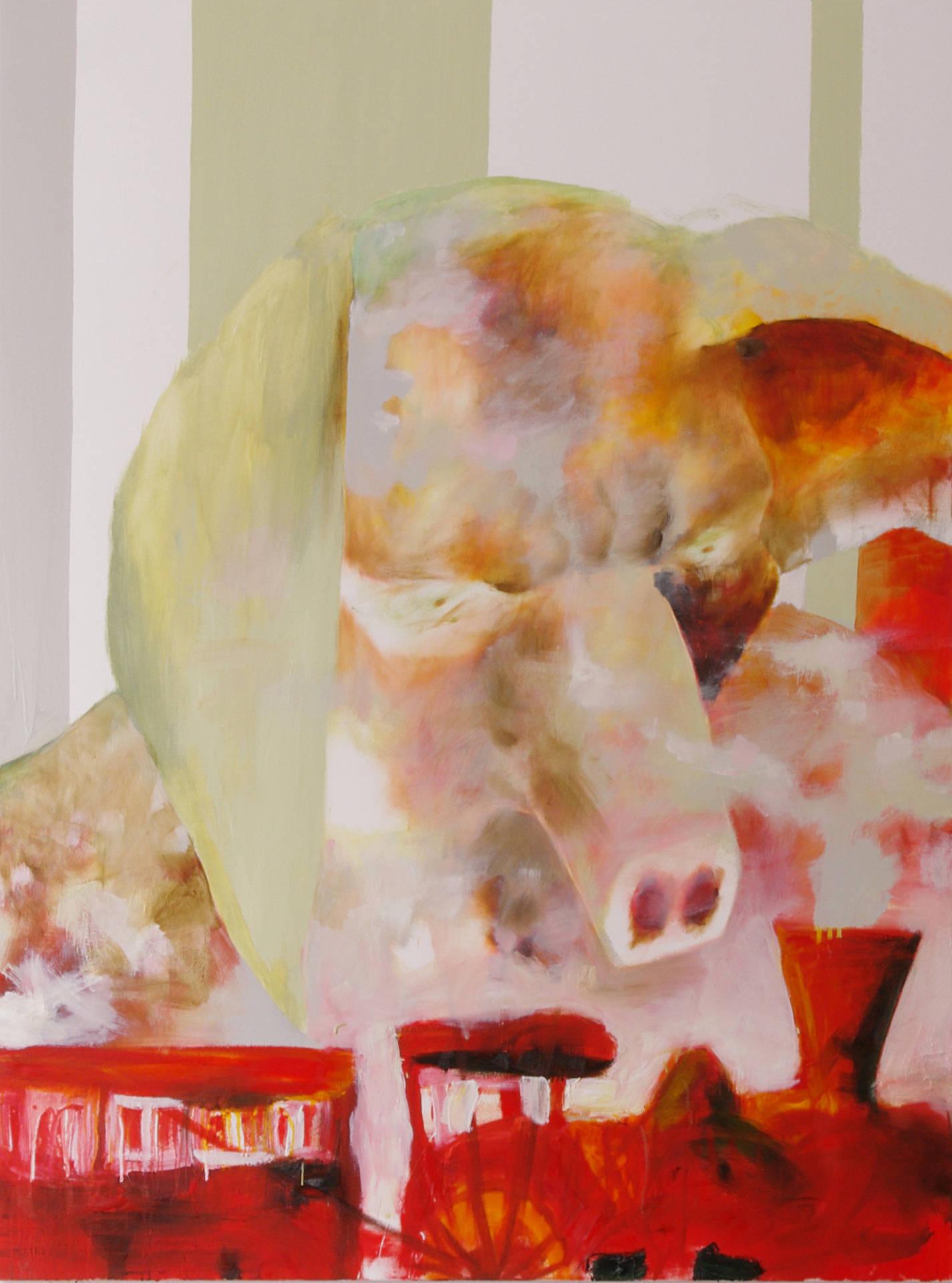 Schwein mit Modelleisenbahn (pig with model train) by Jonas Hofrichter, 2013. 200 x 150 cm