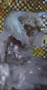 Schwein vor karierter Wand (pig in front of squared wall) by Jonas Hofrichter, 2012