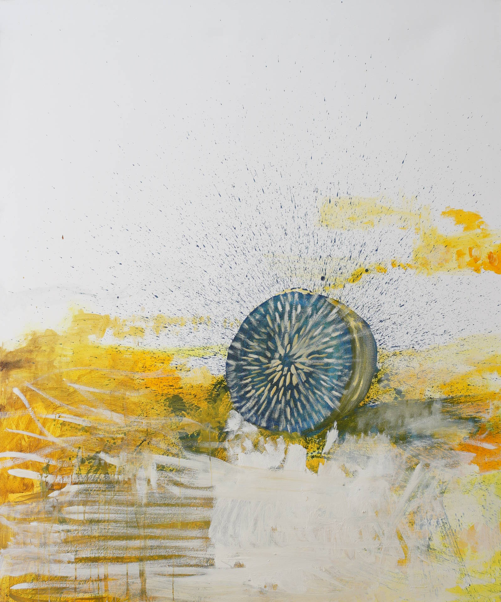 Starrender Heuballen (staring hay bale) by Jonas Hofrichter, 2014. Oil on canvas, 180 x 150 cm